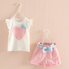 Children Clothing Sets 2017 New Girls Summer Suit Pants Kids Shirt Shorts Cute Heart Pattern Elastic Lattice Pants Green Pink(China)