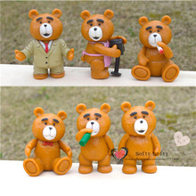 Free shipping Man's Teddy Bear Mini Figures 6pcs/lot PVC toys cartoon animal toy cake car office decoration kids gifts(China)
