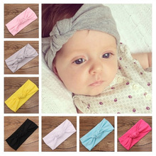 2016 Baby girls Tie Knot Headband Knitted Cotton Children Girls elastic hair bands Turban bows for girl Headbands Summer Style