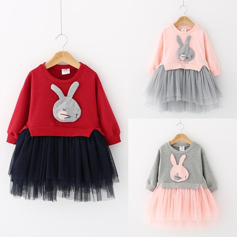 Baby cartoon spring 2017 dress girl children children roundneck long sleeved gown qz-3929<br><br>Aliexpress