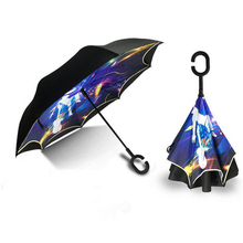 Windproof Reverse Folding Double Layer Inverted Chuva Umbrella Self Stand Inside Out Rain Protection C-Hook paraguas s27(China)