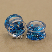 1 pair blue stars glitters ear plug gauges transparent acrylic flesh tunnel liquid plugs body piercing jewelry PLP0005