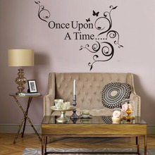 Rainbow Fox Word Wall Stickers Once Upon A Time Butterfly flower rattan Wall Decal  Art Wallpaper Mural living room Sticker