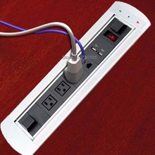 United States power plug furniture socket with 3 American power + 1*dual cat6+2*charge USB + 1*power Switch(China)