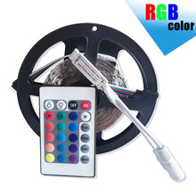Wholesale 5m RGB led strip 3528 SMD 60LED/M diode flexible strip LED light+24K RGB remote control,Not Waterproof White LED Tape