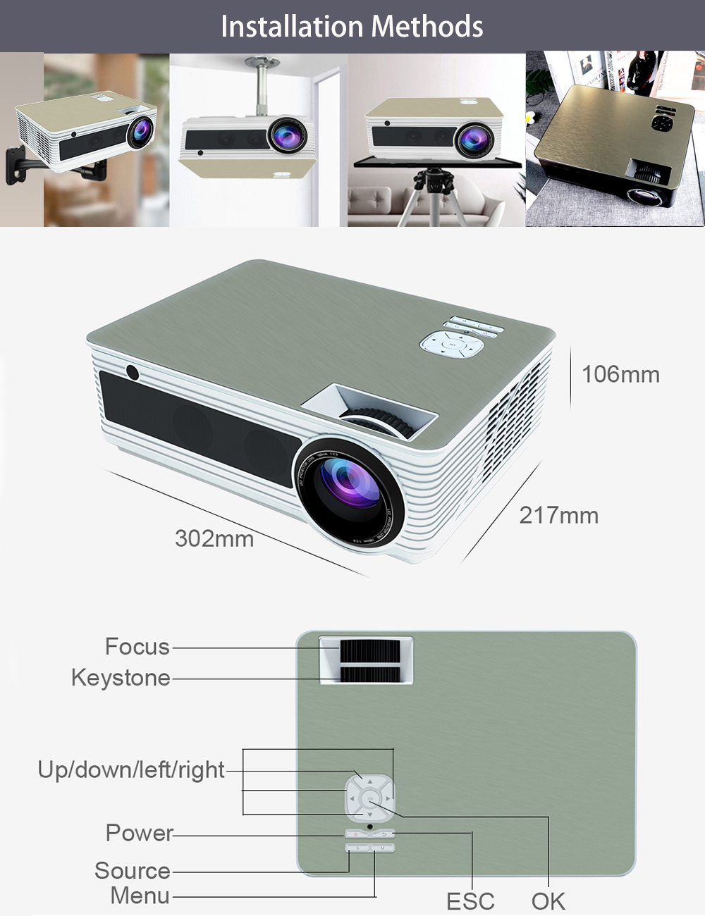 VIVICINE 5500Lumens 1080p HD LED Projector (10)
