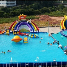 Outdoor playground equipment inflatable swiming pool with slide(China)
