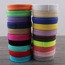by the yard 1.5cm wide fold over soft elastic ribbon for DIY shiny foe headband hair ties,5yards/pack