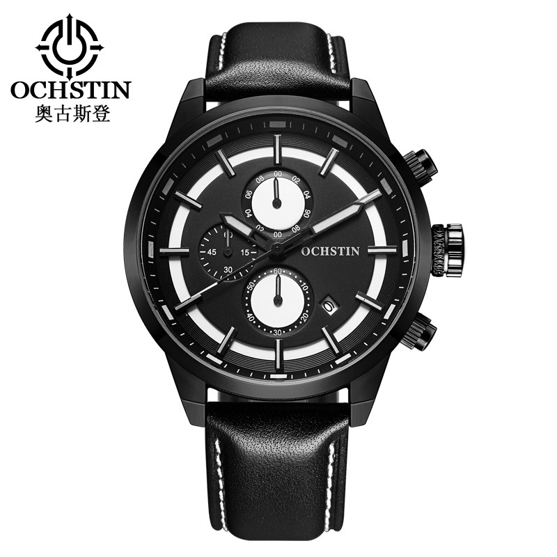 man sports wristwatch waterproof calendar Chronograph male clocks OCHSTIN luxury mens watches black yellow brown genuine leather<br>