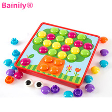 [Bainily]3D DIY Puzzle Young Children To Enlighten The Toy Button Painting 3D Puzzle Nail Mushroom Nail Parent-child Interaction(China)