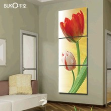 3 pcs/set artist canvas painting modern tulip flower Modular pictures paintings on the walls of several pieces Waterproof