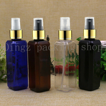 50pcs 100ml Empty Plastic gold collar Spray Bottle Refillable Perfume PET Bottles Plastic atomizers spray black square bottle(China)