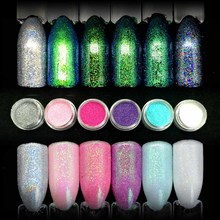 6 Colors Shining Mermaid Effect Nail Art Glitter Dust DIY Nail Decoration Pigment Colorful Mermaid Powder Fine Glitter SF2042