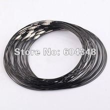 100pcs Wholesale Fashion Black Memory Wire Necklace Choker Cords,1MM * 18 Inch Steel Chain Cord Necklace with Screw Clasp