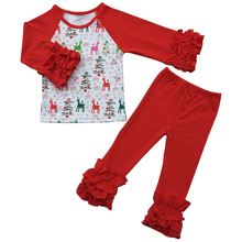 DIY Blanks Girls Monogram Cotton T-Shirt Christmas Gift Baby Tops Ruffle Sleeve Kids t shirts Autumn winter Kids girls clothes