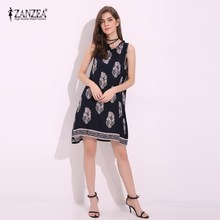 New Arrival 2017 ZANZEA Womens Summer Print Round Neck Beach Sundress Short Mini Shift Dress Sexy Ladies Party Vestidos