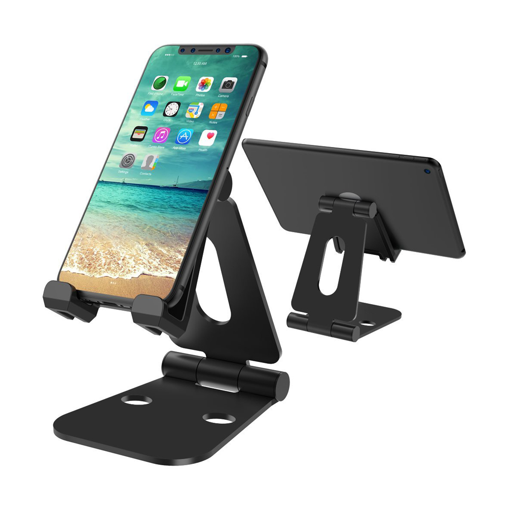 Nulaxy Aluminium Alloy Phone Holder Dual Hinge Adjustable Mobile Phone Stand Foldable Desk Holder Stands For iPad Tablet Mount(China)