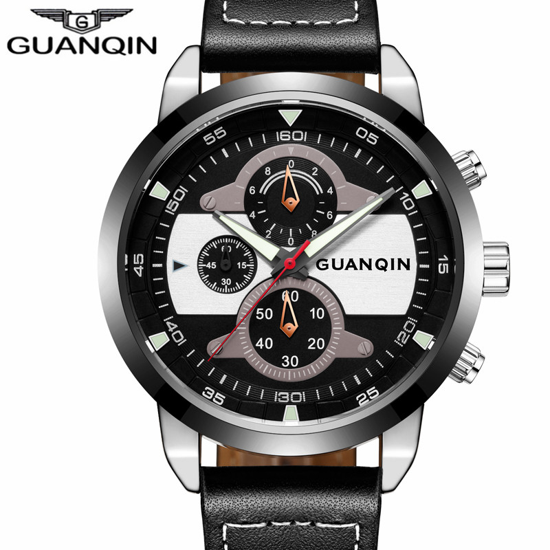 relogio masculino GUANQIN Top Brand Chronograph Luminous Hands Clock Men Military Sport Leather Strap Waterproof Quartz Watch<br>