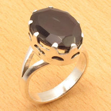 Classic Jewel Ring !  Silver Overlay, BLACK ONYX Prong Setting Size US 8 NEW