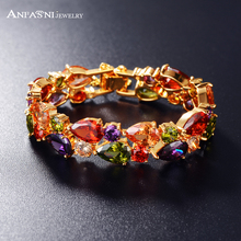 ANFASNI Multicolored Bracelets & Bangles Beautiful Water Drop Shape Zircon Women Bracelet Gold Plt Luxury Bracelet CBR0004