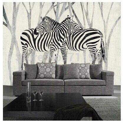 Free shipping custom 3D mural classic retro modern sofa bedroom TV backdrop wallpaper zebra wallpaper<br>