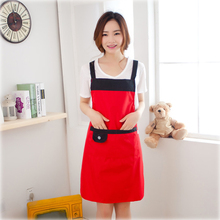Waterproof And Anti-oil Kitchen Cooking Sleeveless Home Apron With Pocket Coffee Shop Overalls Custom Print Logo(China)