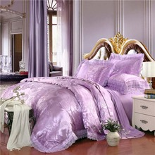 Luxury tribute tencel silk jacquard/cotton Purple lilac 4pcs wedding bedding set quilt/duvet cover bed set/B3230 Queen King size(China)