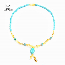 EAST WORLD Gold Amber Necklace with Turquoise Women Jewelry 45cm Choker Fancy Handmade Designer Jewelry Gifts Unique Collar(China)
