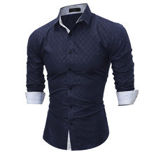 Autumn New 2017 Casual Fashion Brand Business Shirt Long Sleeve Men'S Shirts Slim Fit Grid Dress Shirt Men Clothing Size M-XXL Q