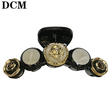 DCM 7.5CM Gold Camellia black Acrylic hair claws fashion Hairwear brand women Hair Jewellery girls flower hairpins package gift(China)
