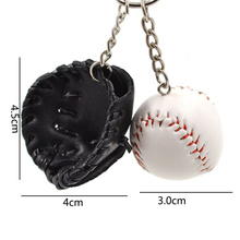 Lychee New Fashion Men Women Unisex Multi Color PU Leather Sports Baseball Bat Gloves Key Chain Key Ring