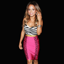 Top Quality Pink Leopard Print Sling Sheath Rayon Bandage Dress Celebrity Hot Club Party Dress