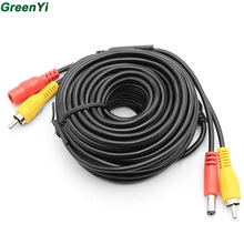 GreenYi 10m 15m 20m RCA DC Power Audio Video AV Extension Cable for CCTV Security Car Tuck Bus Trailer Reverse Parking Camera