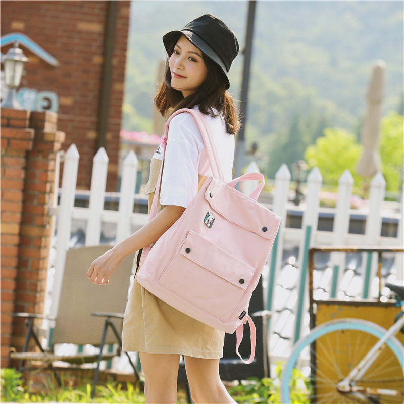 Menghuo Brand Female Women Canvas Backpack Preppy Style School Lady Girl Student School Laptop Bag Cotton Fabric bolsasSZPO0058