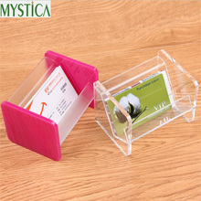 2017NEW Hot Sales Acrylic Business Card Storage Box Display Stand Desk Office Desk Workbench Business Card Holder Table Rack Box(China)