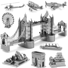 18Pcs 18-Style 3D Metal Intelligence Puzzle DIY Jigsaw Kids Toys Puzzle Eiffel Tower Sailing Boat Fighter Tank Gift for Children