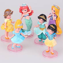 Disney Toys For Kids 6 Pcs/Set Cute Cartoon Anime Princess Action Figures Mermaid Cinderella Snow White Dolls Models Juguetes