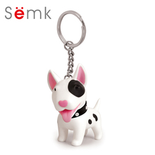 Semk Dog Action Figure PVC Vinyl Doll Anime Figure Toys Cute Dog Keychain For Car Key Holder Terri Bull Terrier Excellent Gift(China)