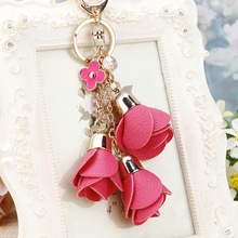 2017 new charm fashion leather rose flower key chain cute tassel flower key chain women keychain female bag pendant jewelry