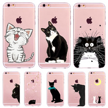 For Apple iPhone 6 6s 7 Plus 4 4S 5 5S SE 6Plus 6sPlus Case Soft TPU Silicon Transparent Thin Cover Black Cat Owl Animal Case