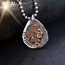 Hot Buy Silver Ornaments Indian Pictures Silver Necklace Pendant Feather Totem Gentleman Personality(China)