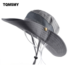 Sun Hat men Bucket Hats women Summer Fishin Cap Wide Brim UV Protection Flap Hat Breathable mesh bone gorras Beach hat men(China)