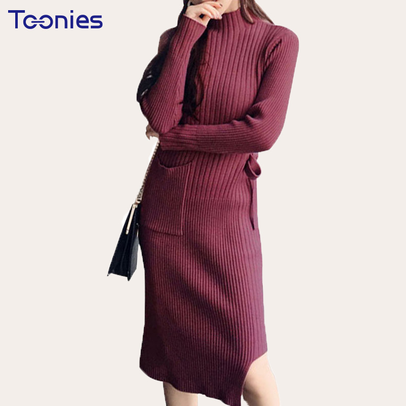 Winter Dress Lace Up Female Turtleneck Long SLeeve Knitted Pullovers Thickened Bottoming Sweater Dress Women Long Split VestidoÎäåæäà è àêñåññóàðû<br><br>