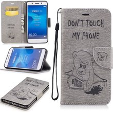 Phone Cases For Huawei Y6 II Y5 ll 2 Y6II Y5II Compact Cover Wallet Leather Saws Bear Etui Coque Capinhas Funadas Hoesje Carcasa