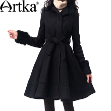 Artka Women's Wool Coat Winter 2017 Long Coat With Belt Korean Fur Coat Female Wool Blend Coat Brand Outwear For Women FA10135D