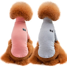 Cute Eyes Back Puppy Dogs Jacket coat High Neck winter pet doggy clothes Apparel Solid color quality dog wearing clothing sale(China)