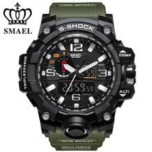 SMAEL Brand Dual Display Wristwatches Military Alarm Quartz Clock Male Gift LED Digital Men's Sports Watch for Men Hours relogio