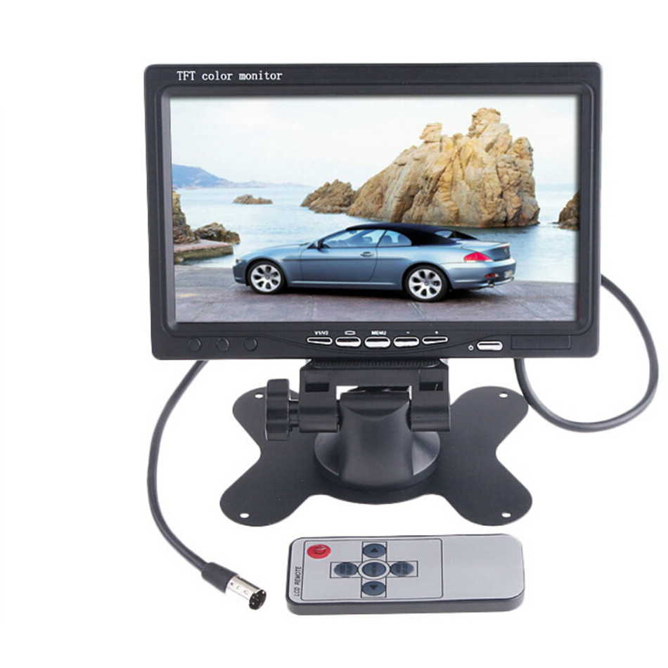 HD 7 inch Color TFT LCD  Car Monitor Rear View CCTV Monitor Display with 2 Channels Video Input for DVD VCD Reversing Camera<br>