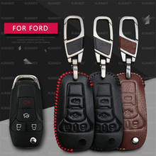 Top Auto Key Shell For Ford Ranger Focus 3 Genuine Leather Flip Folding Remote Car Styling Emblem Key Case Blank Cover 4 Buttons