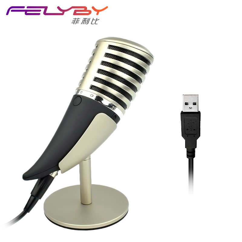 Computer games metal microphone video chat connection phone, 3.5mm and USB microphone for Skype for Youtube, etc.(China)